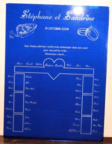 Plan de table mariage, en plexiglas de couleur, gravé et personnalisé