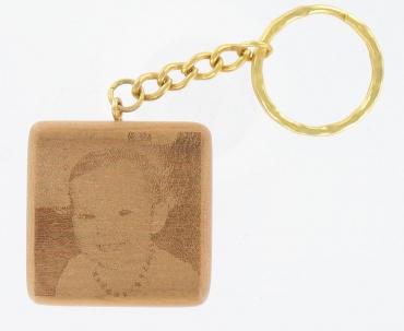 Porte clé en bois carré personnalisable par gravure