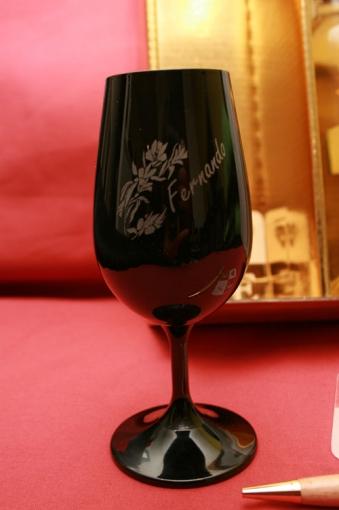 Service de 6 verres à vin INAO noir gravés