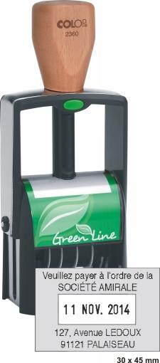 Tampon dateur écologique COLOP Printer 2360 GL - 4 lignes et date