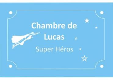 Plaque de porte garçon personnalisé  pour chambre d enfant : super héro