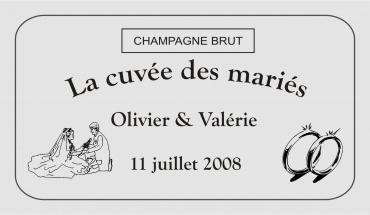 etiquette de bouteille mariage 1  gravée et personnalisé de couleur or ou argent