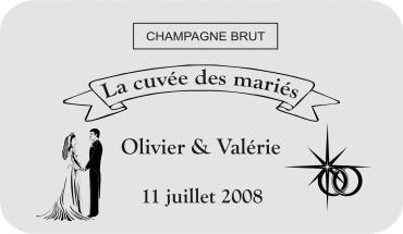 etiquette de bouteille mariage 2 gravée et personnalisé de couleur or ou argent