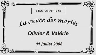 Étiquette personnalisée pour bouteille mariage 4 de couleur or ou argent