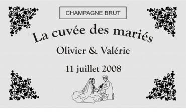 etiquette de bouteille mariage 5  gravée et personnalisé de couleur or ou argent