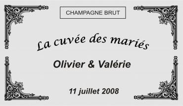 etiquette de bouteille mariage baroque 1 gravée et personnalisé de couleur or ou argent