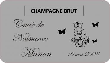 Cadeau de naissance 2 - étiquette de bouteille gravée et personnalisée couleur argent