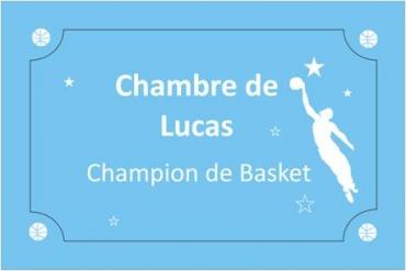 plaque de porte enfant gravé et personnalisé : basket