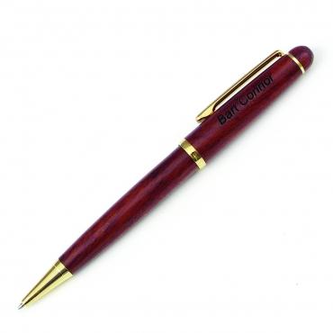 stylo bille en bois de rose  gravé et personnalisé