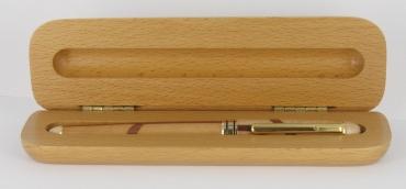 écrin pour stylo en bois de hêtre pour 1 stylo gravé et personnalisé