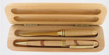 écrin pour stylo en bois de hêtre pour 2 stylos gravés et personnalisés