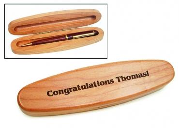 écrin ovale pour stylo en bois de hêtre pour 1 stylo  gravé et personnalisé