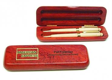 écrin pour stylo en bois de rose pour 2 stylos gravé et personnalisé
