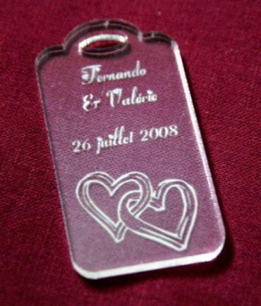 porte clef mariage rectangle gravé et personnalisé en plexiglas transparent