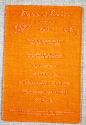 Menu pour gravé et personnaliséen plexiglas satiné 12 x 18 cm