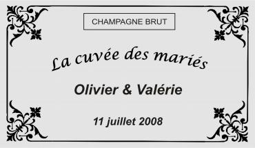 etiquette de bouteille mariage baroque 2 gravée et personnalisé de couleur or ou argent