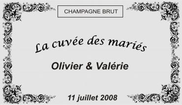 etiquette de bouteille mariage baroque 3 gravée et personnalisé de couleur or ou argent