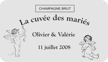 etiquette de bouteille mariage cupidon 3 gravée et personnalisé de couleur or ou argent
