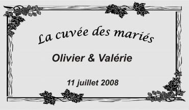 etiquette de bouteille mariage feuilles 1 gravée et personnalisé de couleur or ou argent