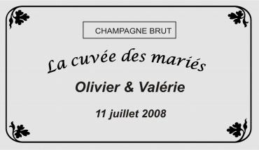 etiquette de bouteille mariage feuilles 2 gravée et personnalisé de couleur or ou argent