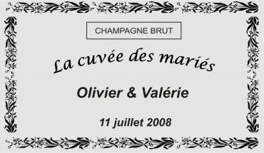 etiquette de bouteille mariage fleur 3 gravée et personnalisé de couleur or ou argent