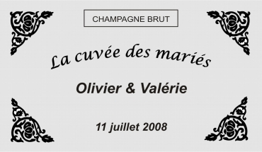 etiquette de bouteille mariage frise 1 gravée et personnalisé de couleur or ou argent