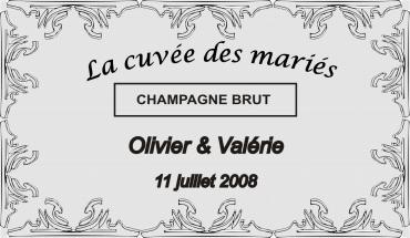 etiquette de bouteille mariage frises 2 gravée et personnalisé de couleur or ou argent