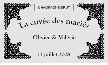 etiquette de bouteille mariage orientale 2 gravée et personnalisé de couleur or ou argent