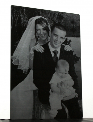 Photo gravée mariée grande taille en plexiglas de couleur 60 x 44 cm