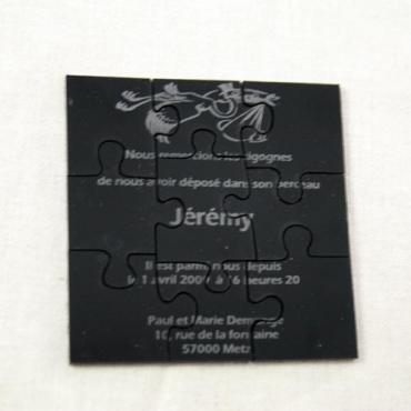 faire part naissance puzzle 9 pièces gravé