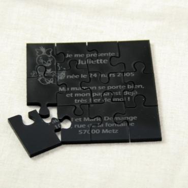 faire part naissance puzzle 12 pièces gravé