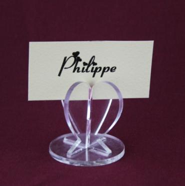 Marque place 3D -  Coeur en plexiglas - porte nom