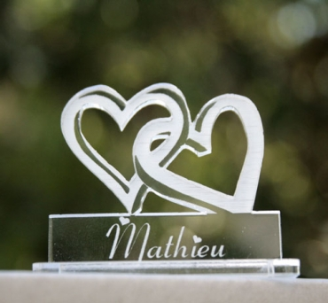 marque place pour mariage : 2 coeurs 1