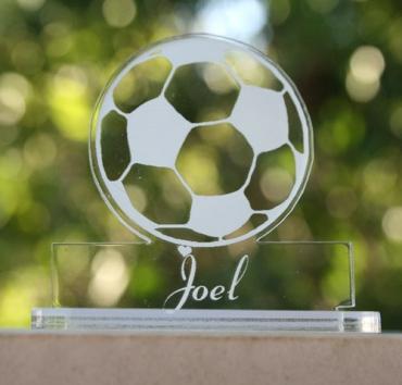 marque place orginal gravé et personnalisé : ballon de foot
