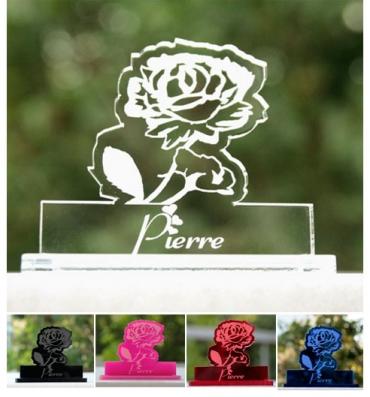 marque place gravé et personnalisé : rose 1