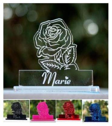 marque place gravé et personnalisé: rose 2
