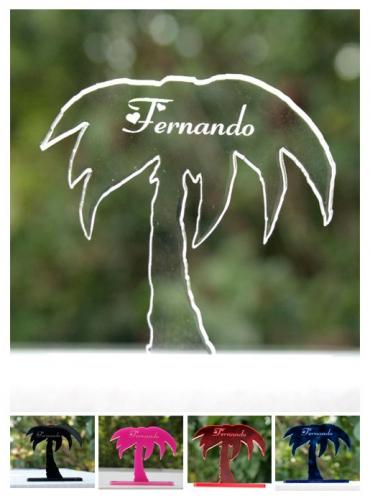 marque place gravé et personnalisé  : palmier