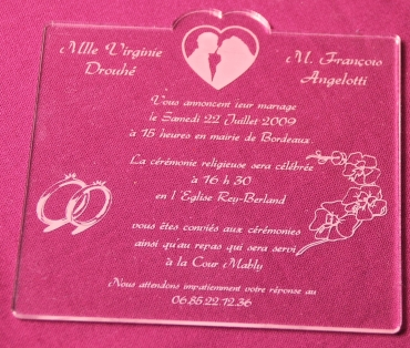 Faire part de mariage personnalisé en plexiglas : modèle 1