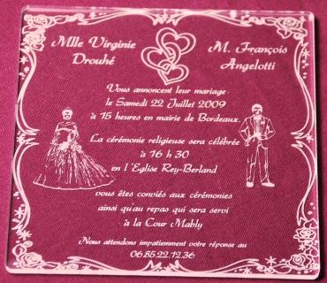 faire part de mariage en plexiglas gravé : modèle 6