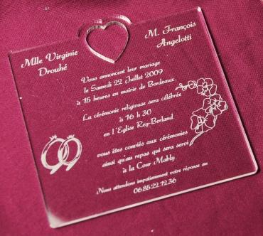 Faire part de mariage personnalisé en plexiglas : modèle 8