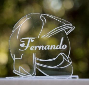 marque place gravé et personnalisé : casque F1 pompier